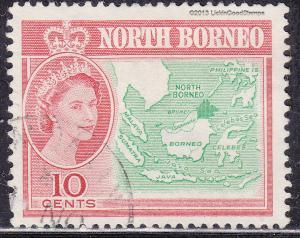 North Borneo 284 USED 1961 Map of North Borneo