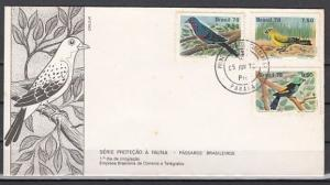 Brazil, Scott cat. 1557-1559. Protected Birds issue. First day cover.