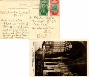 French Guinea 20c and 30c Fort at Kitim 1927 Conakry, Guinee Francaise PPC to...