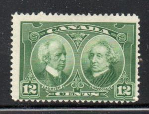 Canada Sc 147 1927 12 c green Laurier & Macdonald stamp mint NH