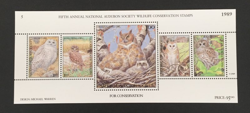 Wildlife Conservation Stamps 1985-91 S/S, MNH, 7 Pics