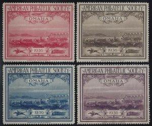 1936 APS Stamp Exhibition OMAHA Cinderella Poster Stamps Set 4 Unused