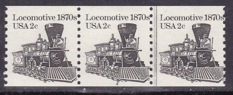 U.S.1982 2c Locomotive 1880's Plate Number Coil Strip of 3. Nr-4 VF/NH