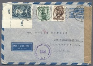 AUSTRIA:  Uprated 1951 Civil Censor Air Mail Stationery Cover to USA
