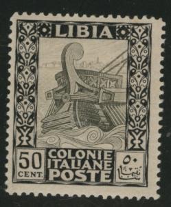 LIBYA Scott 55 MH* no watermark, 1924 50c yellowed gum