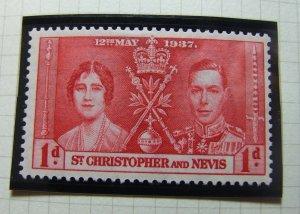 St CHRISTOPHER & NEVIS,1937, SG65-67 full set, Coronation., MH, #143