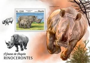 Z08 IMPERF ANG18102b ANGOLA 2018 Rhinos MNH ** Postfrisch