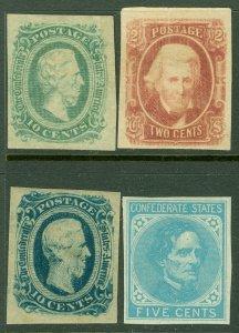 EDW1949SELL : CONFEDERATE Scott #6, 8, 11c, 12 VF, Mint OG. Nice. Catalog $145.
