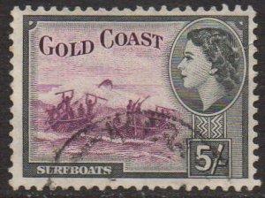 Gold Coast 1954 5/- purple and black used