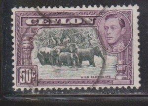 CEYLON Scott # 286e Used - KGVI & Wild Elephants