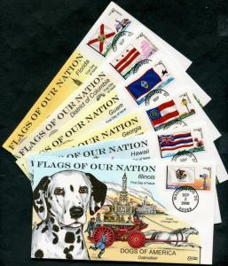 #4283 // #4298 (12) DIFF COLLINS FDC CHT HAND PAINTED DOGS OF AMERICA BP7323