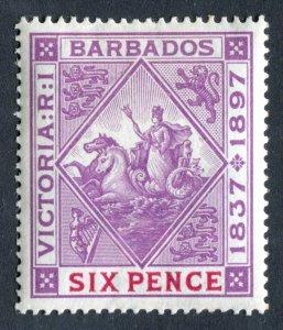 Barbados 1897 QV. Diamond Jubilee. 6d mauve & carmine. Mint Hinged. SG121.