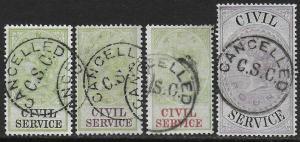 GB Great Britain 1881 Revenue CIVIL SERVICE 4 values Fine Used