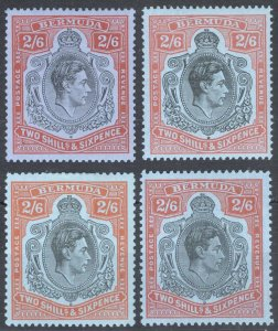 Bermuda 1938 2/6d P 14 (x2) & P13 (x2) SG117x4 Sc124x4  LMM/MLH Cat £123($159)
