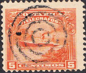 Costa Rica Telegraph - Hiscock #13 Used