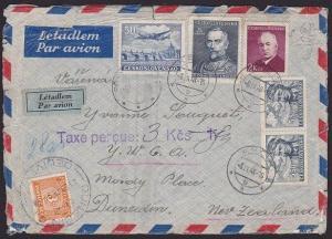 NEW ZEALAND 1948 cover ex CZECHOSLOVAKIA to Dunedin - 3d postage due etc....1895