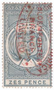 (I.B) Orange Free State Revenue : Duty Stamp 6d