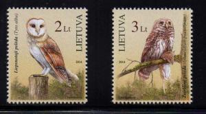 Lithuania Sc 1022-3 2014 Owls stamp set mint NH