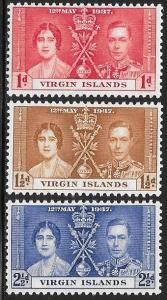 British Virgin Islands 73-75 Unused/Hinged Hinge Remnant - George VI Coronation