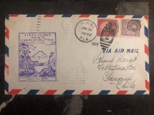 1929 Miami FL Usa First Flight cover FFC to Charal Chile Via Canal Zone