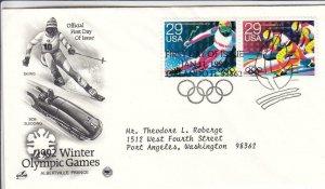 1992, Winter Olympic Games-Skiing & Bobsledding, Artcraft/PCS, FDC (D15363)