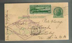 1930 USA Graf Zeppelin Uprated PS postcard cover Around the World # C13