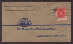 USHeaton,MN to Alexandria,MN 1945 Postage Due Cover