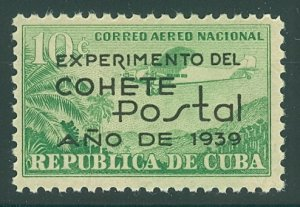 CUBA #C31, 10c Airmail Ovpt, og, NH, VF, Scott $26.00