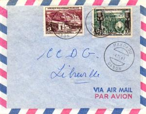 French Equatorial Africa 5F and 10F FIDES 1961 Makokou, Gabon Airmail to Libr...