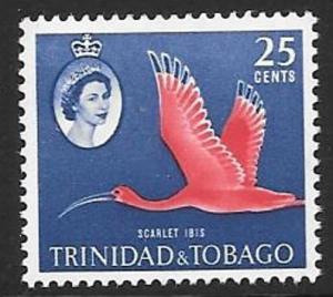 TRINIDAD & TOBAGO SG292 1960 25c ROSE CARMINE AND DEEP BLUE MNH