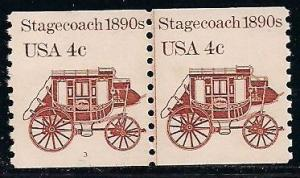 US 1898A MNH - Line Pair - Plate 3 - Stagecoach