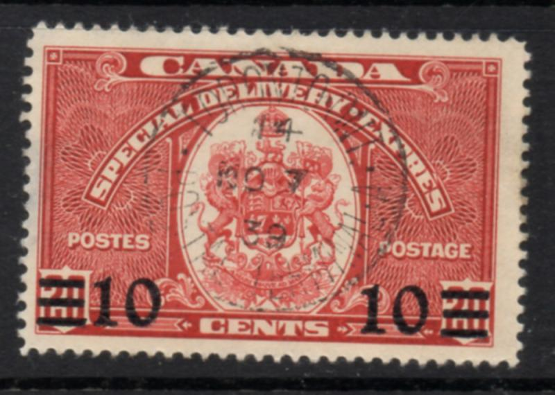 Canada Sc E9 1939 10c on 20c Special Delivery stamp used