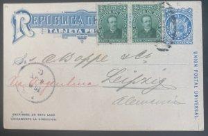 1904 La Paz Bolivia Postal Stationery Postcard Cover To Leipzig Germany