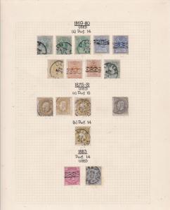 Belgium 1869-80 Stamps on album page Ref 15151