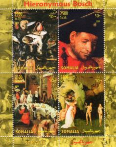 Somalia 2004 Hieronymous Bosch Nudes Paintings Sheetlet (4) Perforated MNH