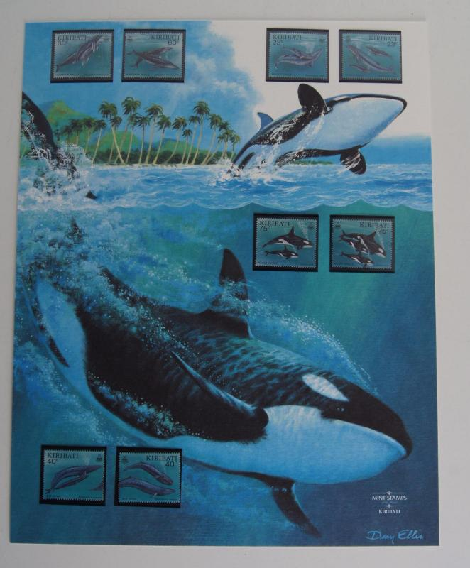 [59180] Kiribati 1994 Marine life Whales Illustrated art page MNH