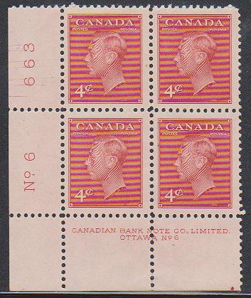 Canada -#287 Plate 6 LL 4c Cracked Plate VF-NH
