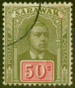 Sarawak 1918 50c Olive-Green & Carmine SG60 Fine Used