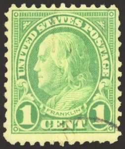 #596, 1923 1¢ green, 2nd or 3rd Best Known, SCV $250,000 SEE DETAILS (GD 4/5)