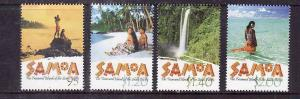 Samoa-Sc#1020-3-Unused NH set-Scenic Views-Waterfalls-2002-