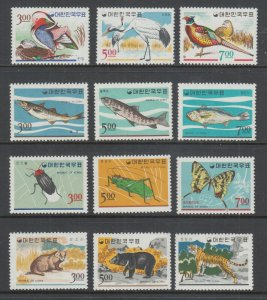Korea Sc 493-504 MNH. 1966 issues, 4 cplt sets, Birds, Fish, Insects, Animals