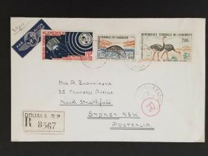 1965 Cameroon Africa to Sydney Australia Registered Air Mail Cover