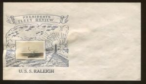 Unused 1930's Presidents Fleet Review U.S.S. Raleigh CL-7 Crosby First Day Cover
