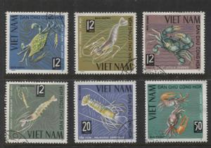 Dem.Rep.Viet Nam - Scott 368-73-Crustaceans -1965 -FU- Set of 6 Stamps
