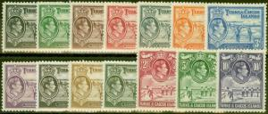 Turk & Caicos Is 1938-45 set of 14 SG194-205 Fine Mtd Mint