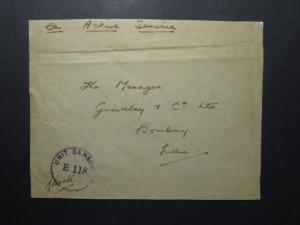 India 1944 Forces Cover / APO 56 (Banglore Area) / Censored / Lt Crease - Z12391