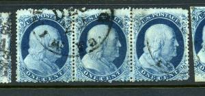 Scott #22 Franklin Type IIIa Strip of 3 w/Expert Plating Cert (Stock #22-11)