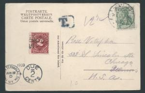 GERMANY 1909 GERMANIA POSTAGE DUE POSTCARD TO USA