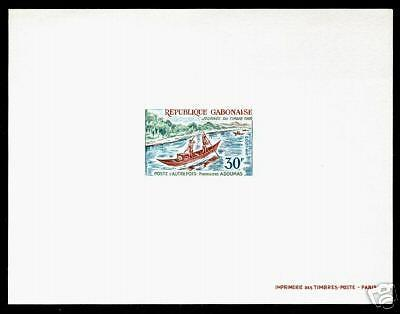 Gabon 256 Deluxe Sheet MNH (yellowed) Canoe Mail, Stamp Day