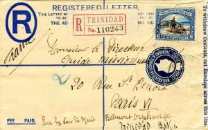 Trinidad 6c Discovery of Lake Asphalt on 3d KGV Registration Envelope 1935 Re...